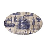 Vintage Sewing Toile 35x21 Oval Wall Decal