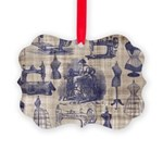 Vintage Sewing Toile Picture Ornament