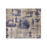 Vintage Sewing Toile Throw Blanket