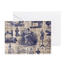 Vintage Sewing Toile Greeting Card