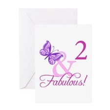 Fabulous 2nd Birthday For Girls Greeting Card
