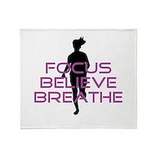 Purple Focus Believe Breathe Throw Blanket