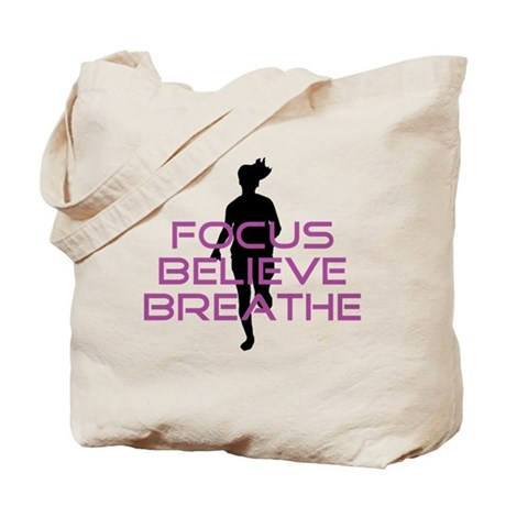 Purple Focus Believe Breathe Tote Bag