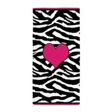 Pink Zebra Heart Beach Towel