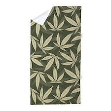Marijuana Leaf Pattern Beach Towel