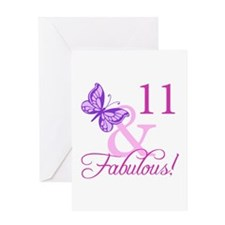 Fabulous 11th Birthday For Girls Greeting Card