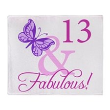Fabulous 13th Birthday For Girls Throw Blanket