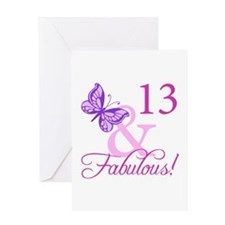 Fabulous 13th Birthday For Girls Greeting Card