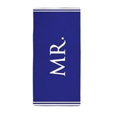 Blue His half of Mr and Mrs Beach Towel set