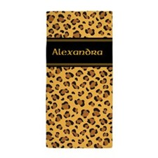 Personal name leopard print Beach Towel