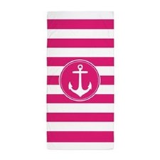Hot Pink Nautical Anchor Stripes Beach Towel