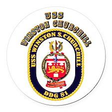 USS Winston Churchill - Crest Round Car Magnet