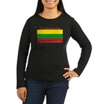 Lithuanian Flag Women's Long Sleeve Brown Shirt