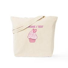 Custom Pink Heart Cupcake Tote Bag