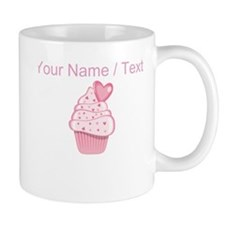 Custom Pink Heart Cupcake Small Mug