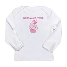 Custom Pink Heart Cupcake Long Sleeve T-Shirt
