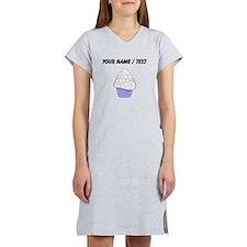 Custom White and Purple Cupcake Women's Nightshirt