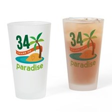 34th Anniversary Paradise Drinking Glass