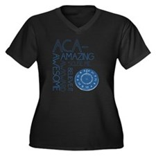 ACA-WHAT Women's Plus Size Dark V-Neck T-Shirt