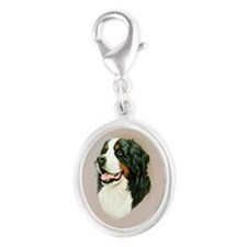 Bernese Mountain Dog Silver Oval Charm