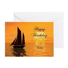 91st Birthday card with sunset yacht Greeting Card