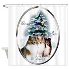 Shetland Sheepdog Christmas Shower Curtain