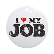 Retro Love My Job Ornament (Round)
