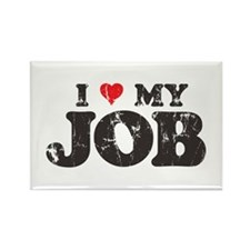 Retro Love My Job Rectangle Magnet