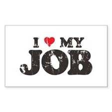 Retro Love My Job Rectangle Decal