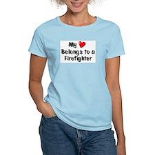 My Heart: Firefighter Women's Pink T-Shirt