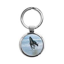 Black Arabian Horse-Beach Round Keychain