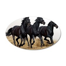 3 Black Horses Running Wall Decal