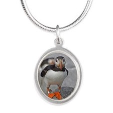 Puffin Silver Oval Necklace