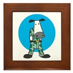 Military Cow in Camo Framed Tile