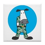 Military Cow in Camo Tile Coaster