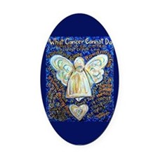 Blue & Gold Cancer Angel Oval Car Magnet
