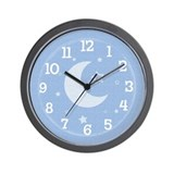 Moon &amp; Stars Blue Wall Clock