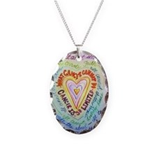 cancer cannot rainbow heart Necklace