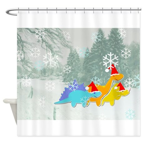 cute cartoon dinosaurs christmas shower curtain by