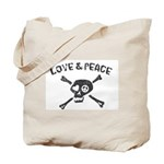 Love & Peace Skull Tote Bag