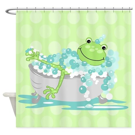 frog in tub shower curtain green shower curtain by