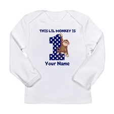 This lil Monkey Blue 1st Birthday Long Sleeve T-Sh