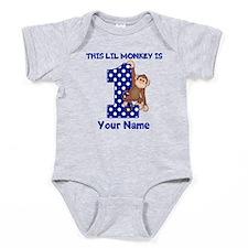 This lil Monkey Blue 1st Birthday Baby Bodysuit
