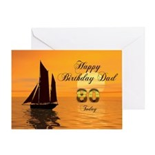 80th Birthday card for Dad with sunset yacht Greet