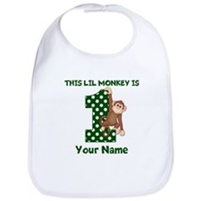 1st Birthday Monkey Green Bib