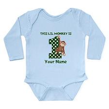 1st Birthday Monkey Green Body Suit