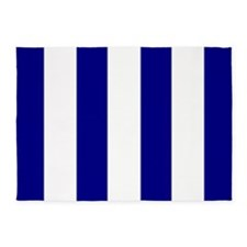 Navy Blue and White Striped 5'x7'Area Rug
