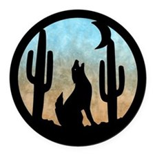Coyote Moon Round Car Magnet