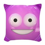 Candy Smiley - Pink Woven Throw Pillow