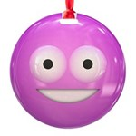 Candy Smiley - Pink Round Ornament